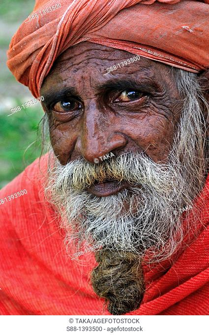 Sadhu by the Ganges river in the holy town