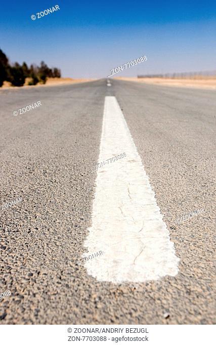 desert road sign in Siria. Summer season