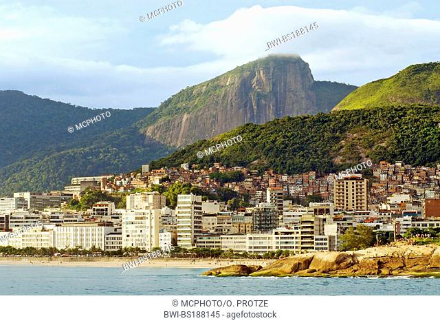 Ipanema Beach from the seaside, with the Corcovado Mountain in the background, Brazil, Rio de Janeiro