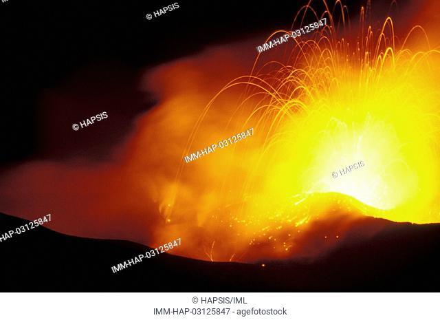 Aeolian Islands, Stromboli Active Volcano, lava Italy, Europe