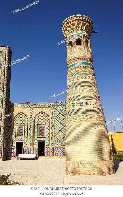 Ulugh Beg Minaret and Madrasah at Memorial Complex of Al Gijduvani, Gijduvan, near Bukhara, Uzbekistan