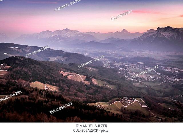 Rural scene at sunset, Salzburg, Austria