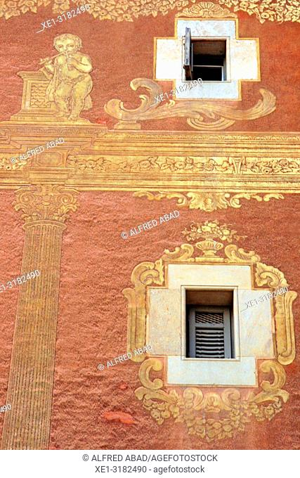 window and paintings sgrafiato on the wall, Casa del Gremi dels Velers, 1758, architect Joan Garrido, Barcelona, Catalonia, Spain
