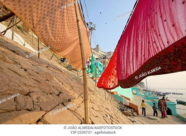 Washed clothes drying at the ghats of Varanasi