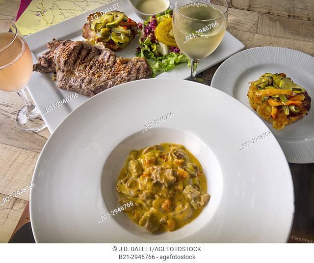 """France, Auvergne-Cantal-Food- at Restaurant Logis de France H.Cluzel, at Saint Etienne de Maurs:""""""""faux Filet"""""""" of Salers beef and """""""" Ris de veau"""""""","""
