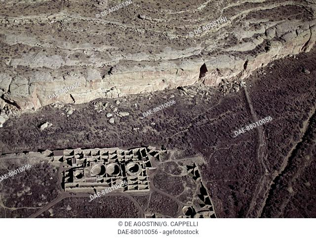 View of an ancient settlement of Anasazi, Chaco Ruins Culture National Park, Chaco Canyon, New Mexico, United States of America. Anasazi civilisation