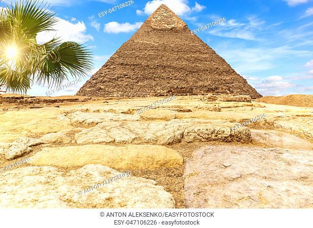 The Pyramid of Khafre Chephren in the sunny desert of Giza, Egypt