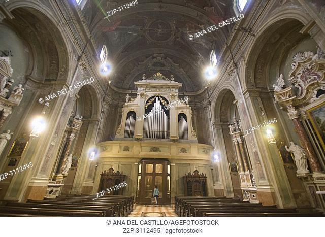 Riva del Garda town Lake of Garda Lombardy Italy. St Maria Assunta church interior