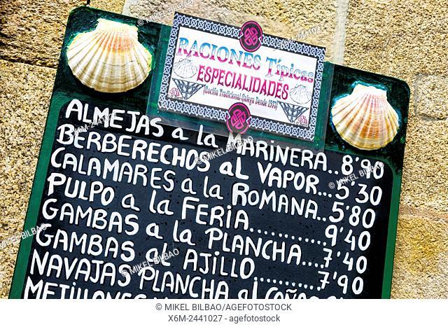 Seafood signal. Santiago de Compostela. La Coruña, Galicia, Spain, Europe