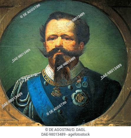 Portrait of Victor Emanuel II (Turin, 1820-Rome, 1878), King of Sardinia and Italy, painting by Leopoldo Toniolo (1833-1908)