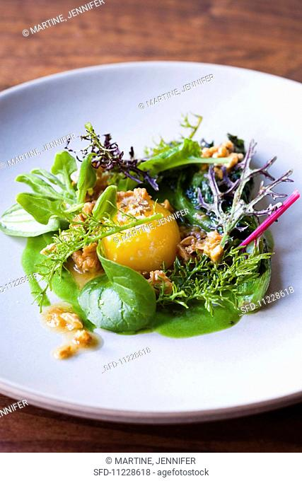 Mixed Green Salad with Melon and Two Types of Dressing