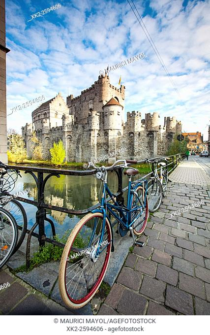 Gravensteen by bike, Ghent, Belgium