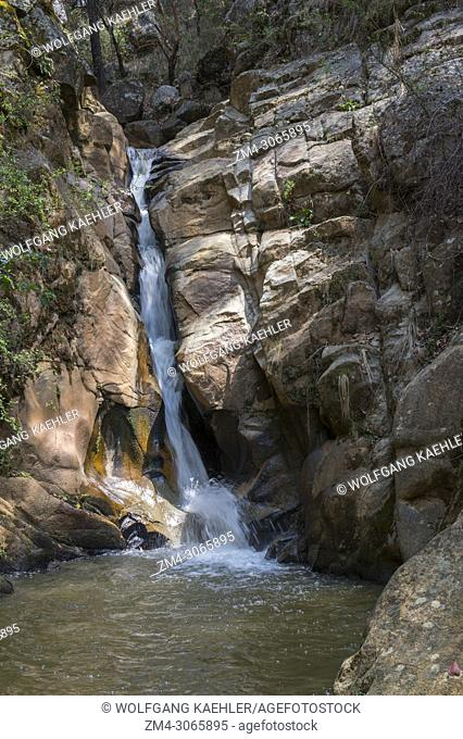 One of the waterfalls in the forest in the hills above the Mixtec village of San Juan Contreras near Oaxaca, Mexico