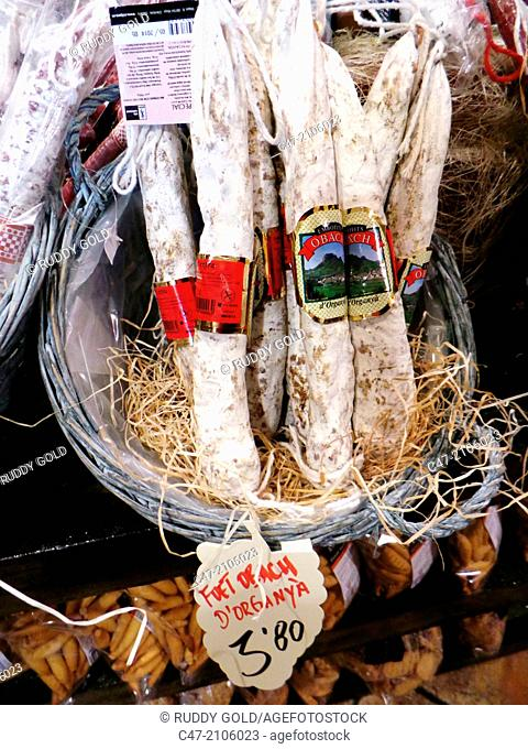 Fuet, Catalan typical cured dry pork sausage, for sale, Catalonia, Spain