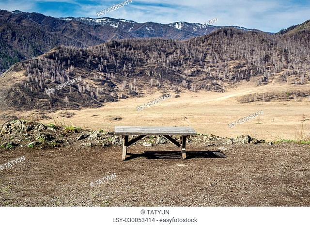 Empty wooden bench at spring season in mountains