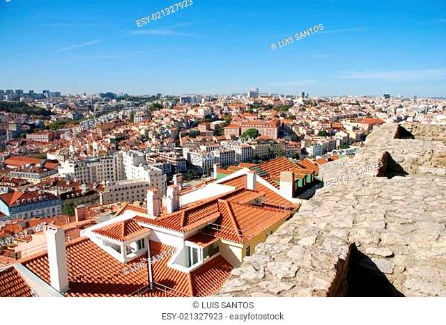 Cityscape of Lisbon in Portugal (Sao Jorge Castle view)