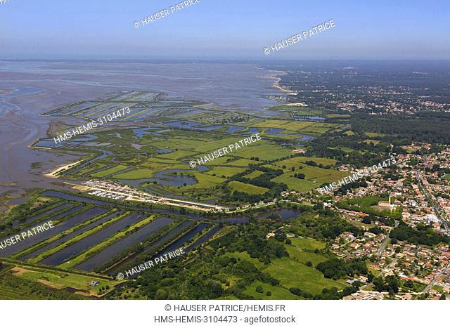 France, Gironde, Bassin d'Arcachon, Cap Ferret, Audenge, Domaine de Certes and Graveyron from the sky (aerial view)