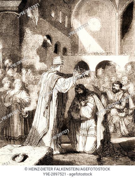 Pope Saint Leo III crowned Charlemagne Imperator Romanorum, on Christmas Evening, 800