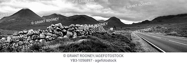 Panorama of The Cuillen Mountains from Sligachan, Isle of Skye, Scotland