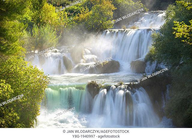 Croatia - autum scenery in Krka National Park, waterfall on the Krka River, Croatia