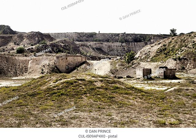 Abandoned quarry with concrete blocks