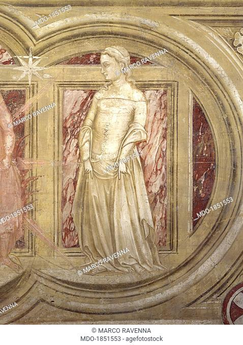 Planet Venus, by Guariento di Arpo, 14th century, fresco. Italy, Veneto, Padua, Eremitani Church. Detail. Allegory of the planet depicted as a beautiful young...