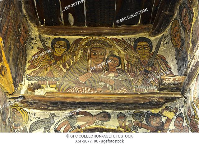 Virgin Mary and Child, flanked by the archangels Michael and Gabriel, painting in the rock-hewn church Petros and Paulus Melehayzengi, Tsaeda Amba mountains
