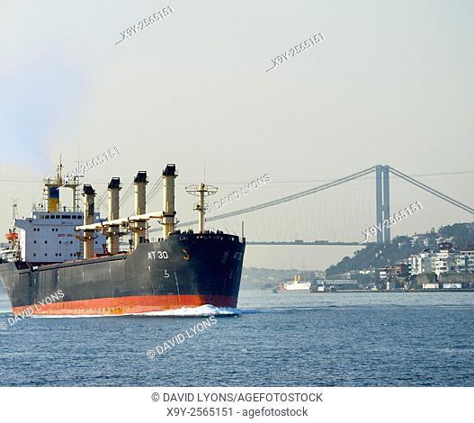 Togo flagged bulk carrier AT 30 leaves the First Bosphorus Bridge, Istanbul, northbound on the Bosphorus, Turkey