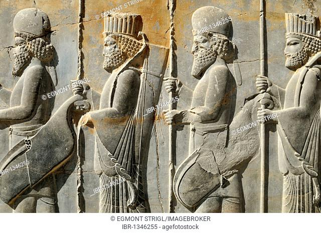 Bas-relief of Persian and Median soldiers at the Achaemenid archaeological site of Persepolis, UNESCO World Heritage Site, Persia, Iran, Asia
