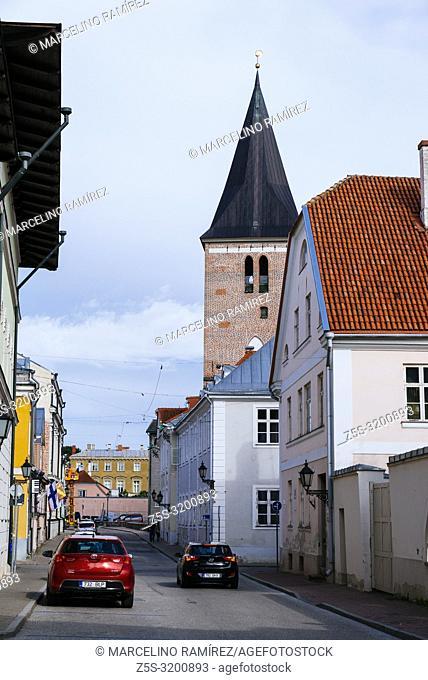 Tartu street and tower Evangelist Lutheran St John's Church. Tartu, Tartu County, Estonia, Baltic states, Europe
