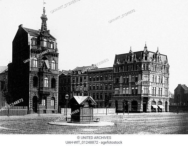 Auf den Ringen in Köln: Hohenzollernring, Ecke Ehrenstraße mit neu eingerichteter Bedürfnisanstalt