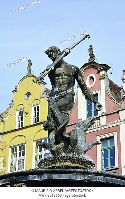 Neptune Fountain in Gdansk, Poland