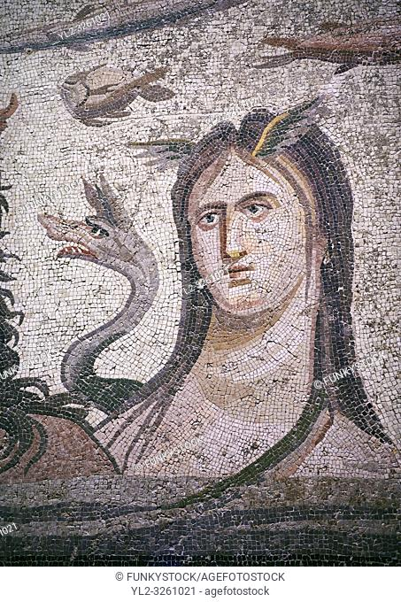 Roman Mosaic - close up of Tethys wife of river god Oceanos. The Oceanos & Tethys Mosaic, fom The House of Oceanos, Zeugma. 2nd - 3rd century AD