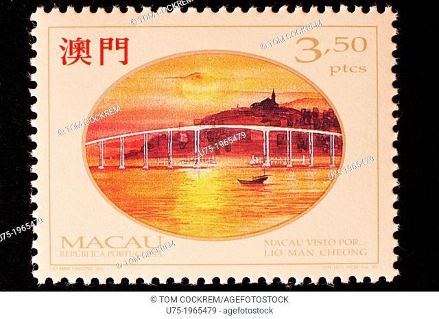 macau postage stamp with historic theme in studio setting
