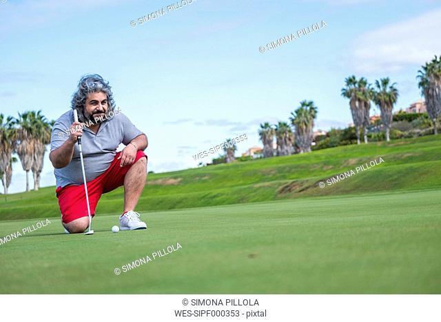 Spain, Tenerife, Golf player at Costa Adeje