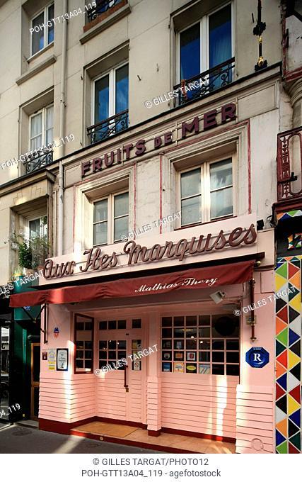 france, ile de france, paris 14e arrondissement, rue de la gaite, no15, aux iles marquises,  Date : 2011-2012 Photo Gilles Targat