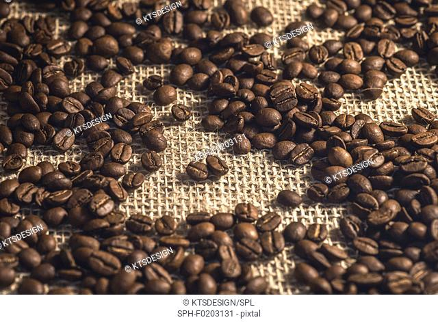 Coffee beans against a hessian background