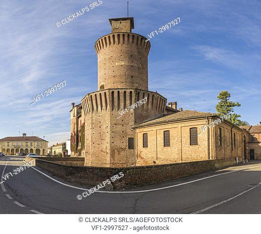 Sartirana Lomellina, Province of Pavia, Lombardy, Italy. The Old Castle of Sartirana