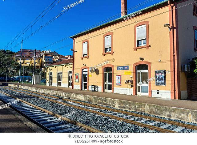 Collioure, France, outside, Train Station, Building, Day, Seaside Village near Perpignan, South of France