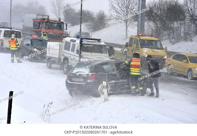 Part of the road R1 in Prague from the 17th kilometre to the Airport was blocked with the collision involving dozens of cars and four lorries, Czech Republic
