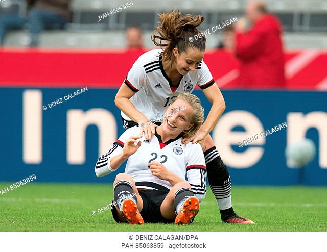 Germany's Tabea Kemme (BELOW) celebrates her goal with Sara Daebrit during the women's international soccer match between Germany and the Netherlands in...