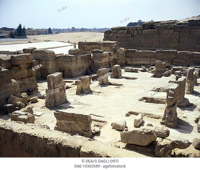 Egypt - Cairo - Giza (UNESCO World Heritage List, 1979), remains of the temple at the foot of the Pyramid of Khafre