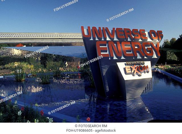 Epcot, Disney World, Orlando, FL, Lake Buena Vista, Florida, Fountain outside the Universe of Energy presented by Exxon in Epcot Center at Walt Disney World in...