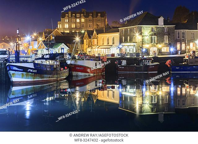 Fishing boats in Padstow Harbour on the north coast of Cornwall, captured using a long exposure on an evening in late January