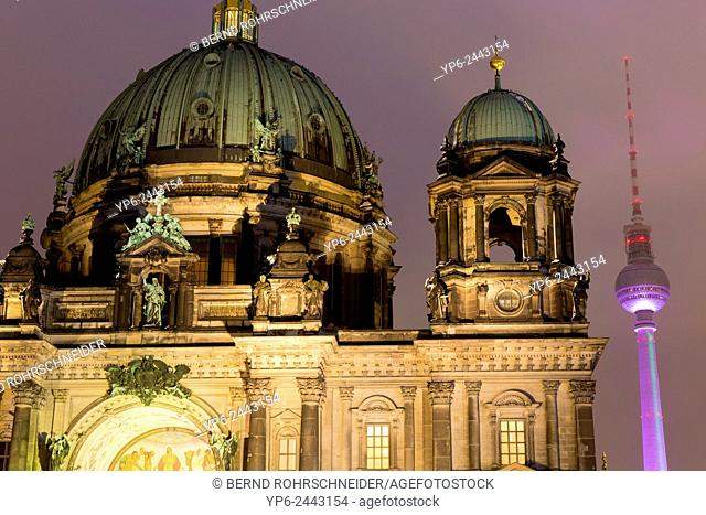Berlin Cathedral and television tower at night, Berlin, Germany