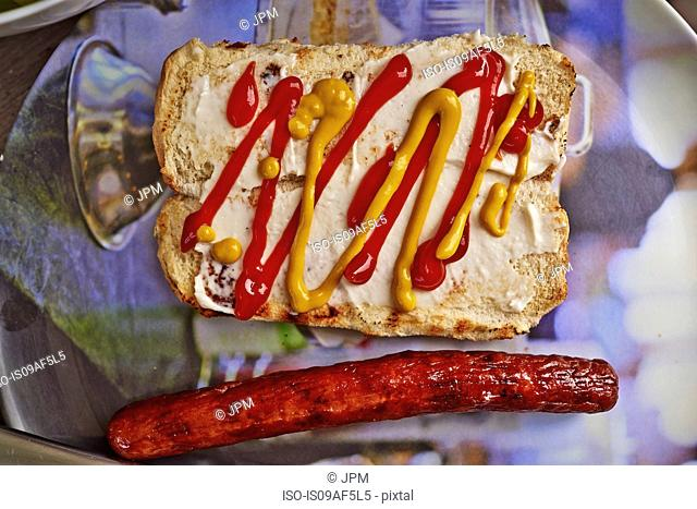 Still life of bread bun, mustard, tomato sauce and a hot dog sausage