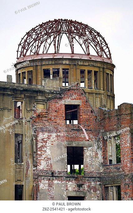 The Genbaku Domu, Atomic Bomb Dome, in the Hiroshima Peace Memorial Park, Hiroshima, Japan commemorating the bombing of Hiroshima at the end of World War II