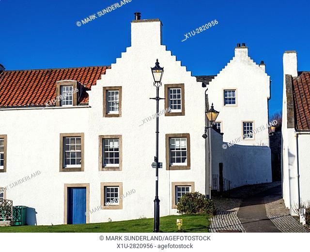 Dutch Influenced White Houses on Pan Ha in Dysart Fife Scotland