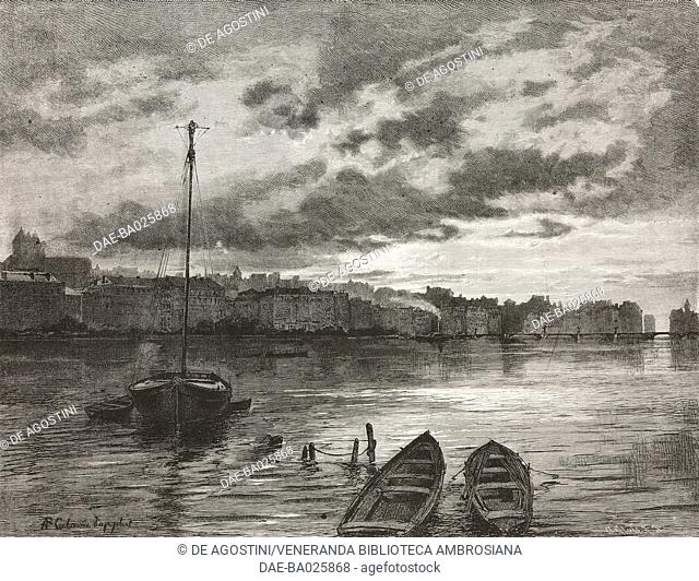 View from Geneva lake, Switzerland, engraving from L'Illustrazione Italiana, Year 6, No 35, August 31, 1879