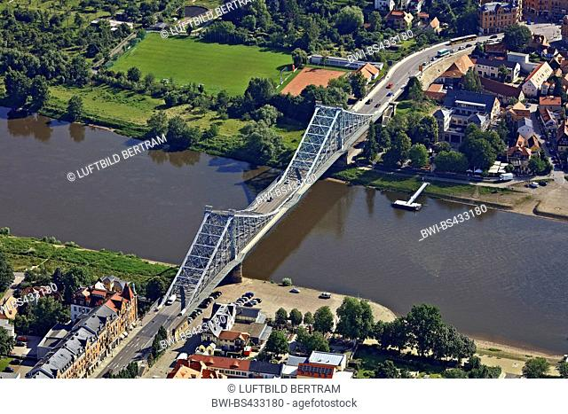 bridge Blue Wonder over the river Elbe, 20.06.2016, aerial view, Germany, Saxony, Dresden